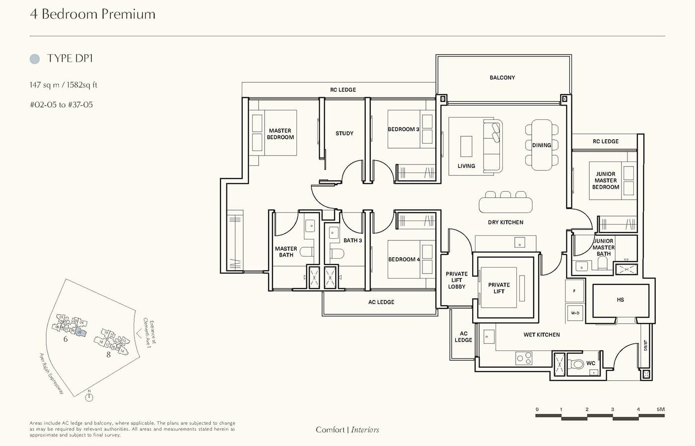 Clavon Condo Floor Plans - 4 Bedroom Premium DP1