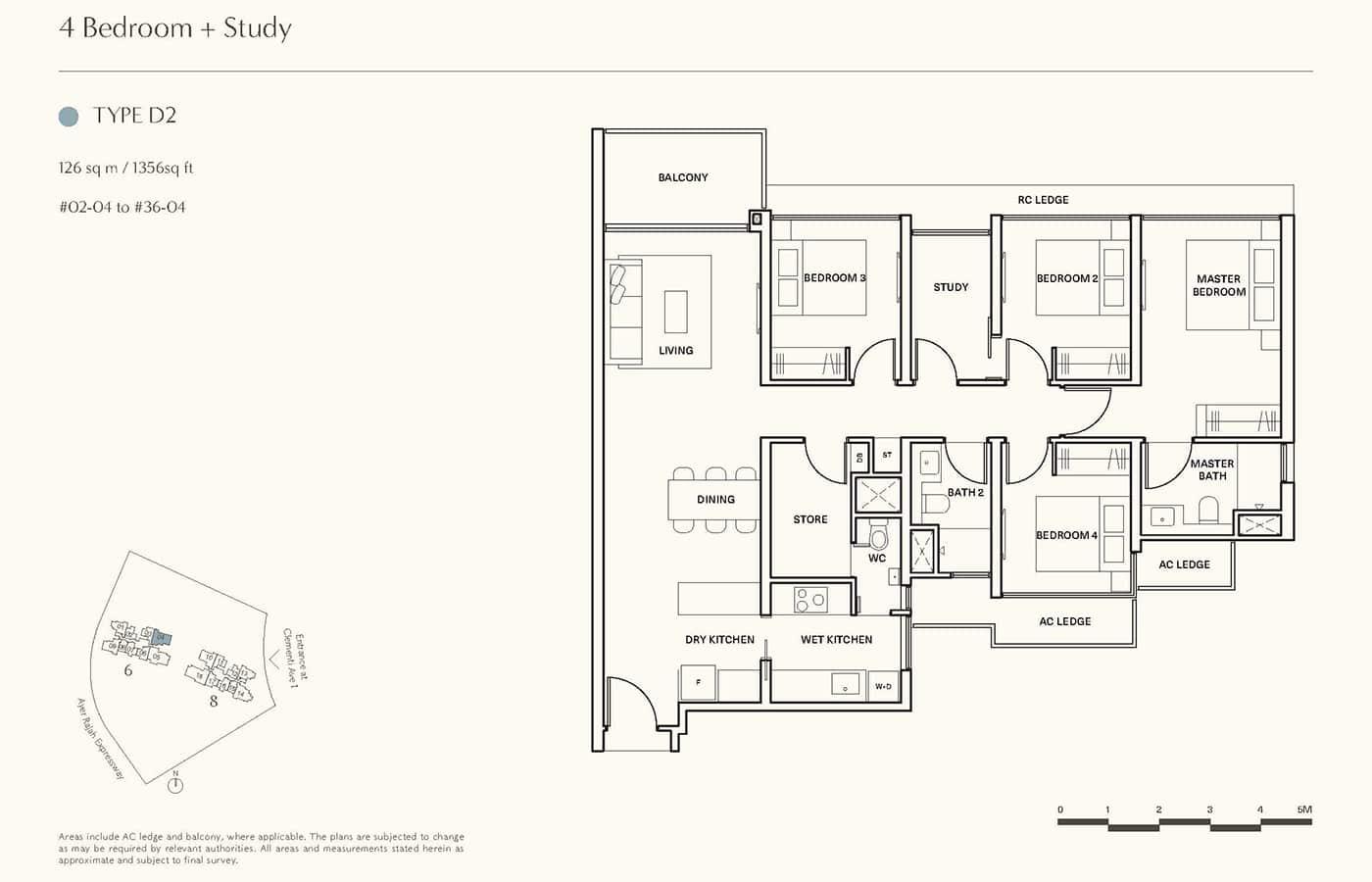 Clavon Condo Floor Plans - 4 Bedroom Study D2