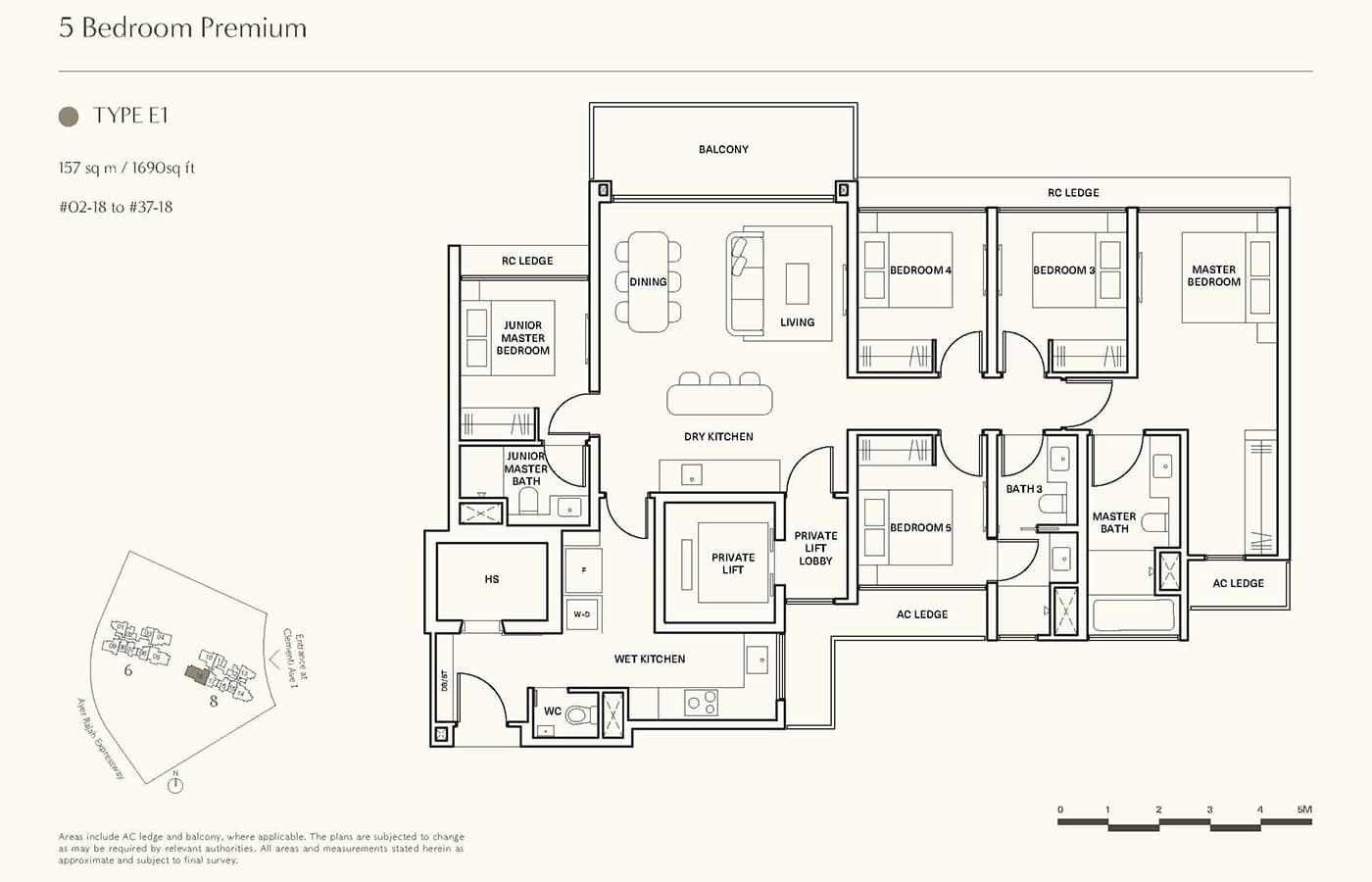 Clavon Condo Floor Plans - 5 Bedroom Premium E1