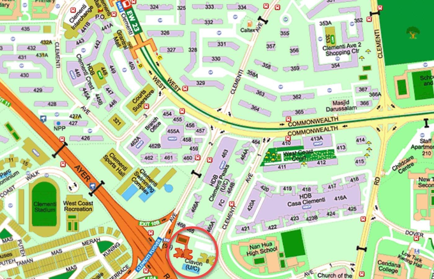 Clavon Condo Location -Street Directory Map
