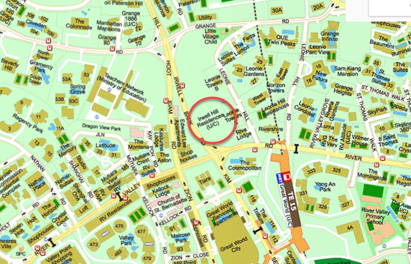 Irwell Hill Residences Condo Location - Street Directory Map