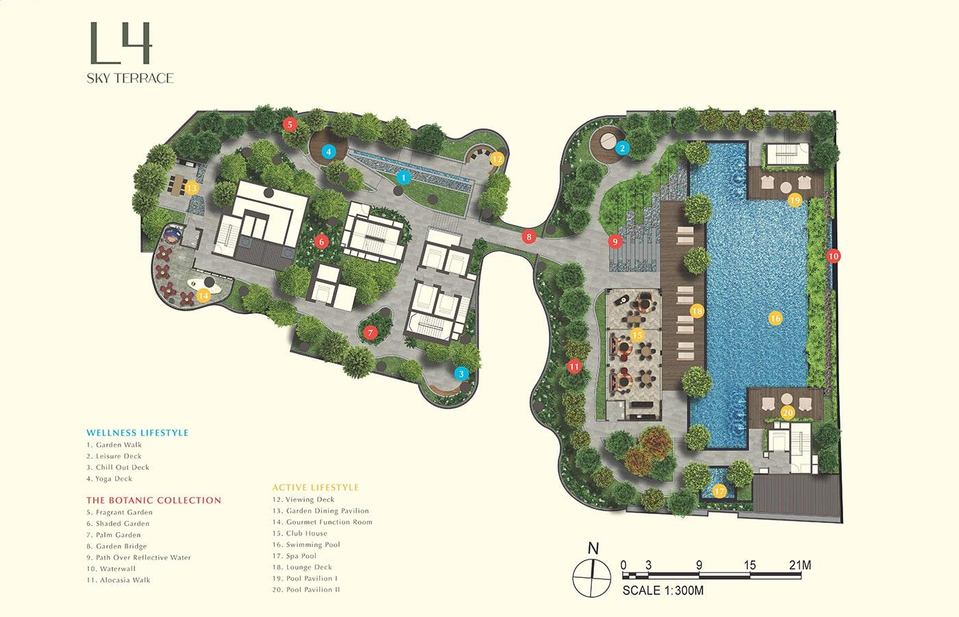 One Bernam Condo Facilities - Site Plan Level 4 Sky Terrace
