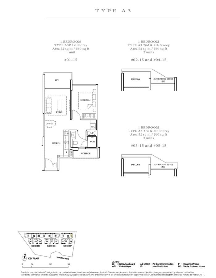 Peak Residence Condo Floor Plan - 1 Bedroom A3