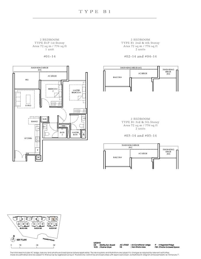 Peak Residence Condo Floor Plan - 2 Bedroom B1