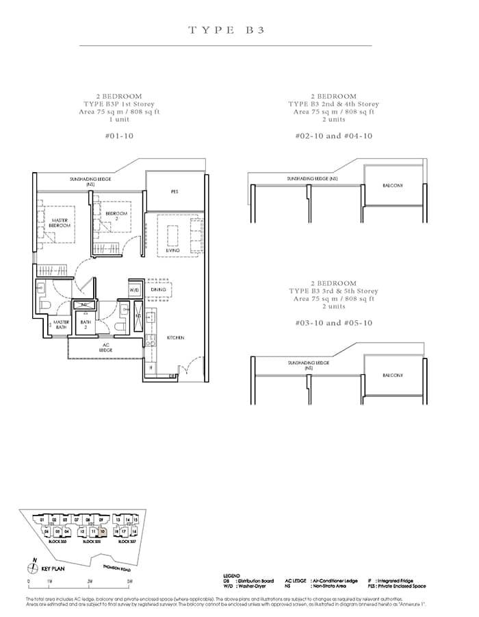 Peak Residence Condo Floor Plan - 2 Bedroom B3