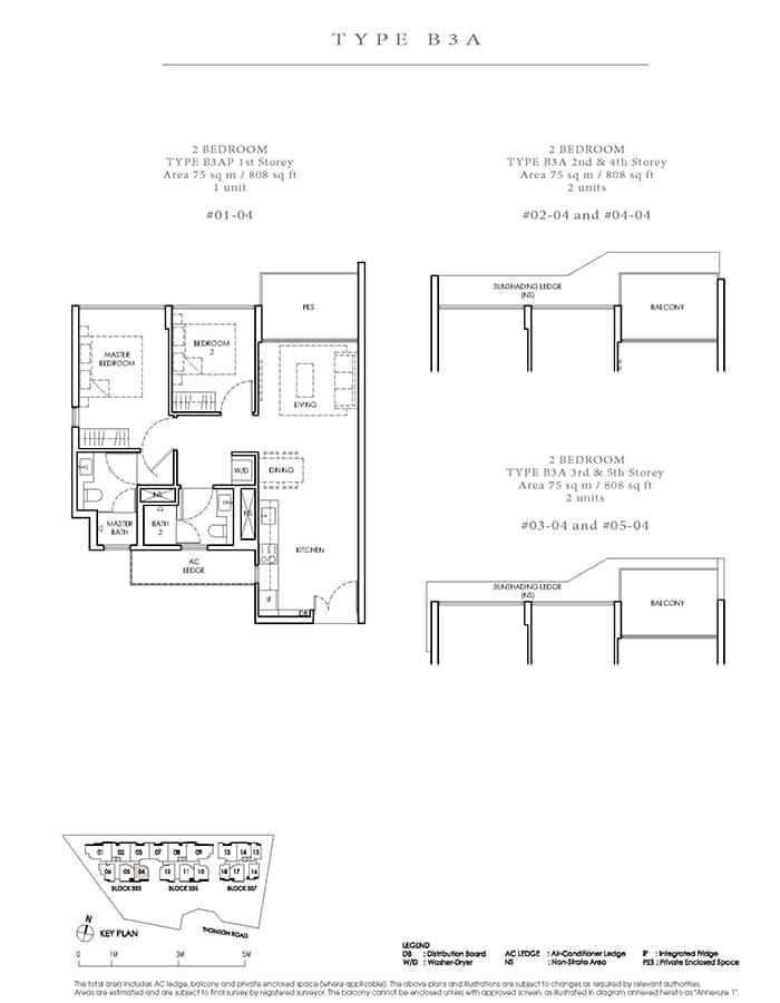 Peak Residence Condo Floor Plan - 2 Bedroom B3A