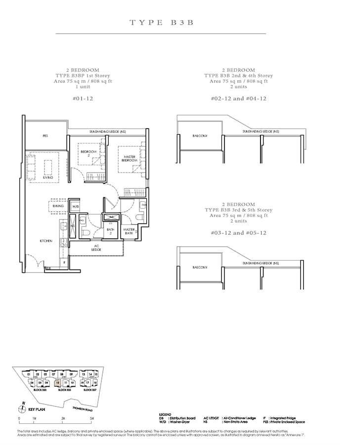 Peak Residence Condo Floor Plan - 2 Bedroom B3B