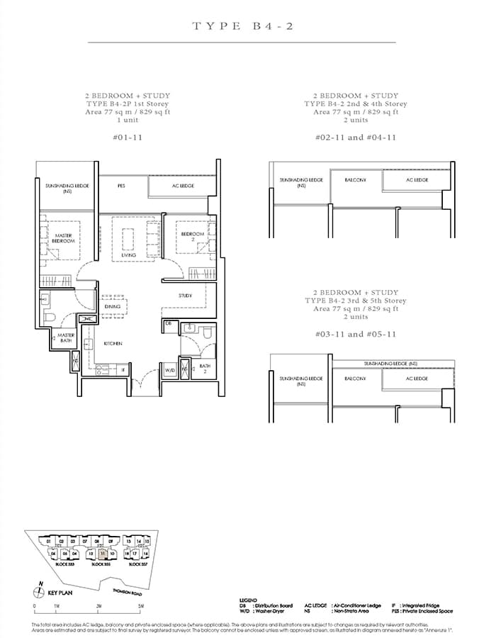 Peak Residence Condo Floor Plan - 2 Bedroom Study B4-2