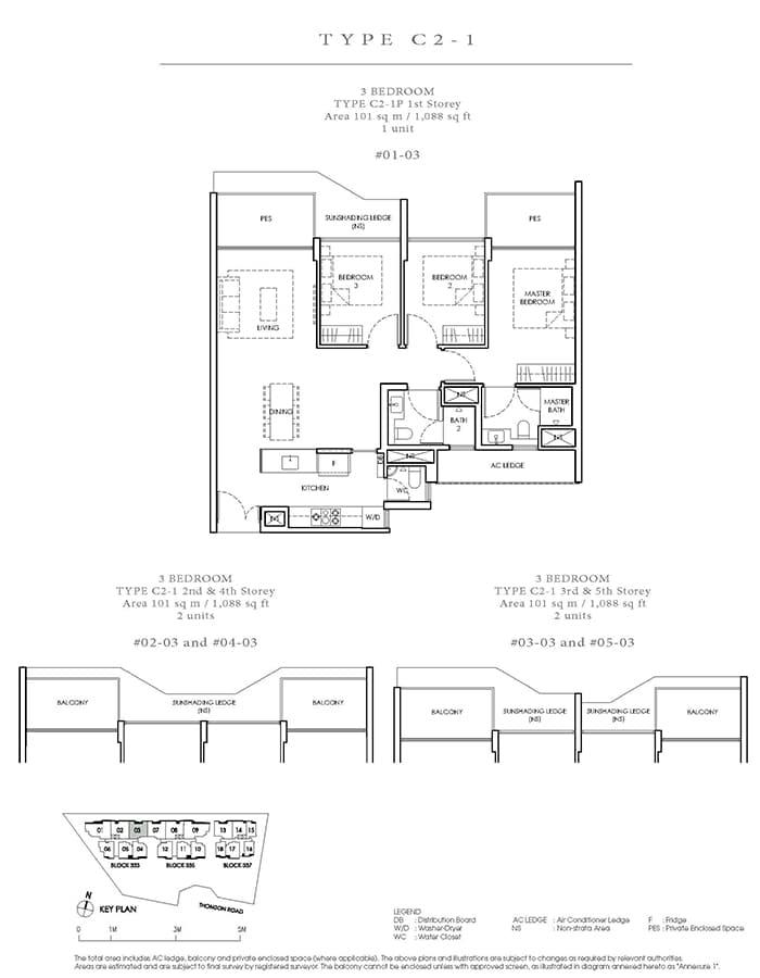 Peak Residence Condo Floor Plan - 3 Bedroom C2-1