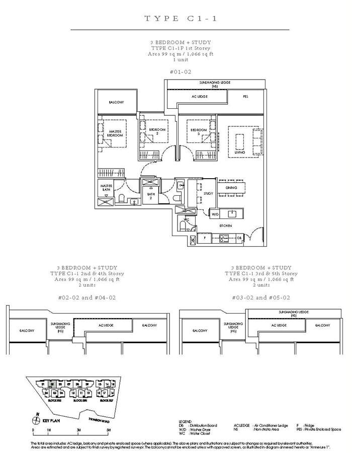 Peak Residence Condo Floor Plan - 3 Bedroom Study C1-1