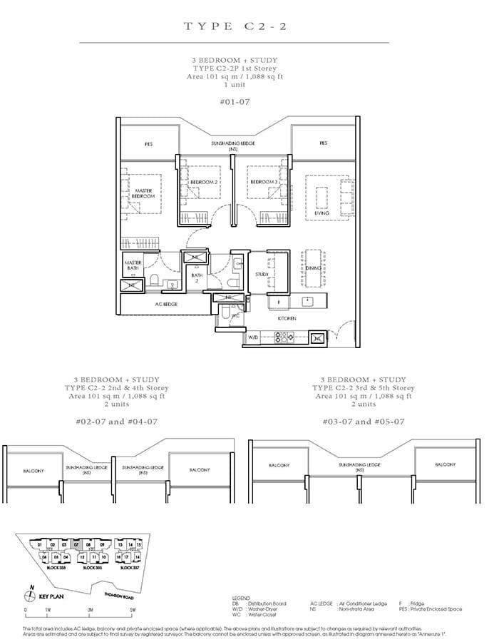 Peak Residence Condo Floor Plan - 3 Bedroom Study C2-2