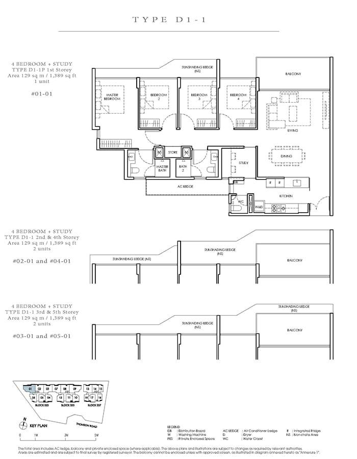 Peak Residence Condo Floor Plan - 4 Bedroom Study D1-1