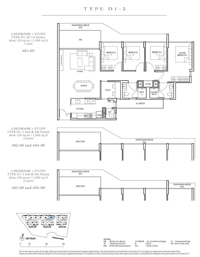 Peak Residence Condo Floor Plan - 4 Bedroom Study D1-2