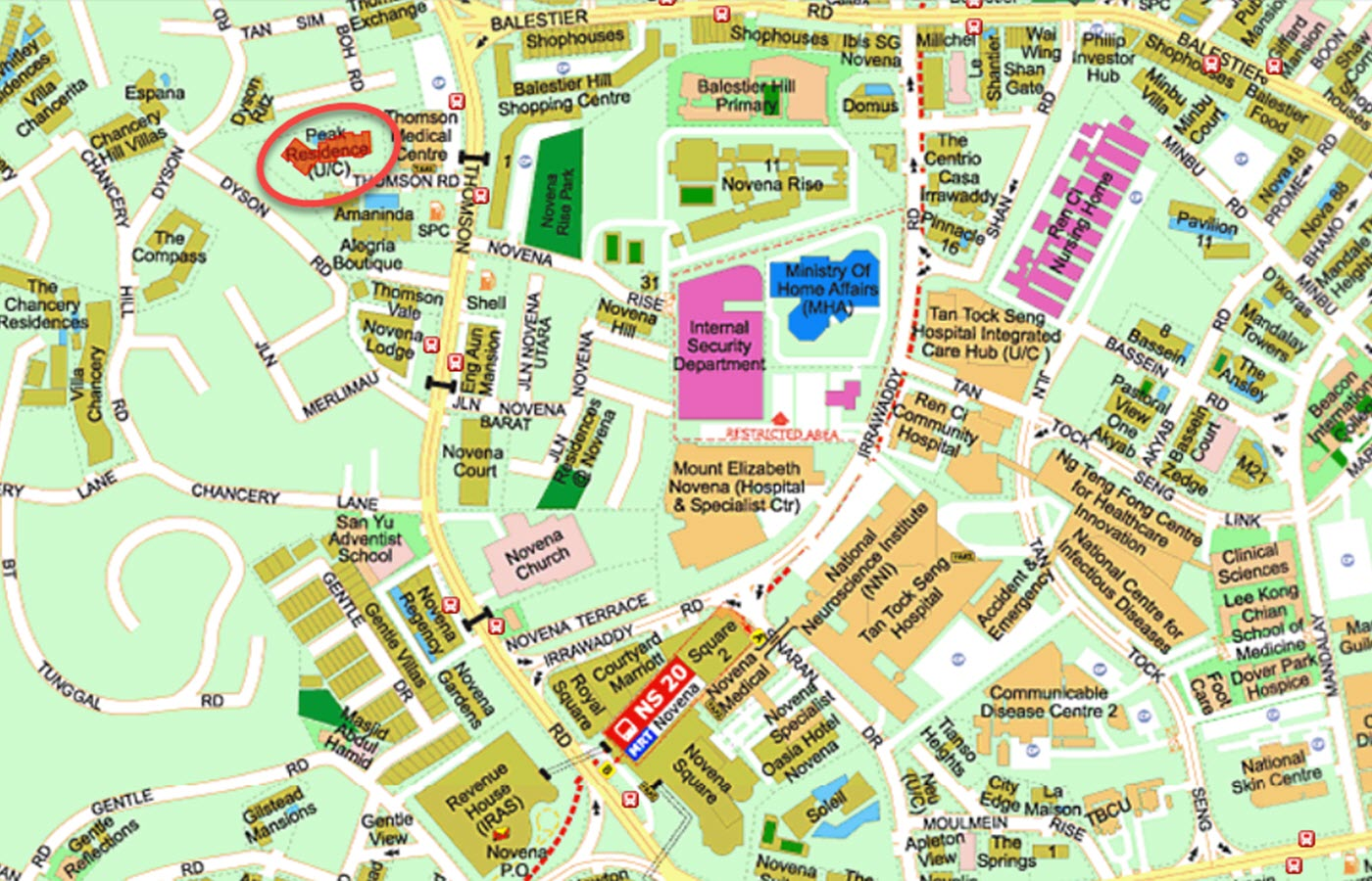 Peak Residence Condo Location - Street Directory Map