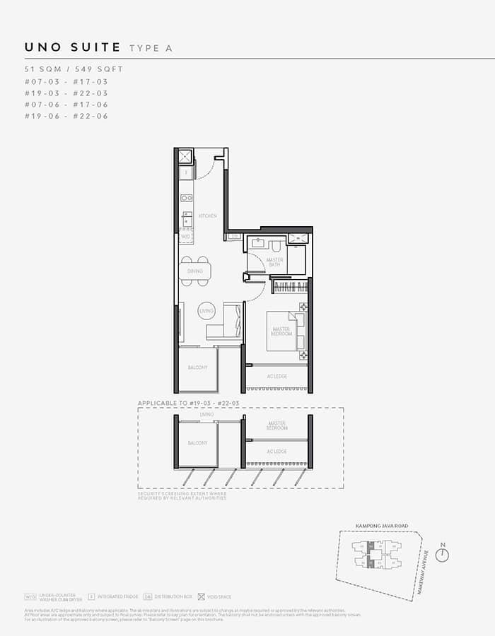 The Atelier Condo Floor Plan - 1 Bedroom A (Uno Suite)
