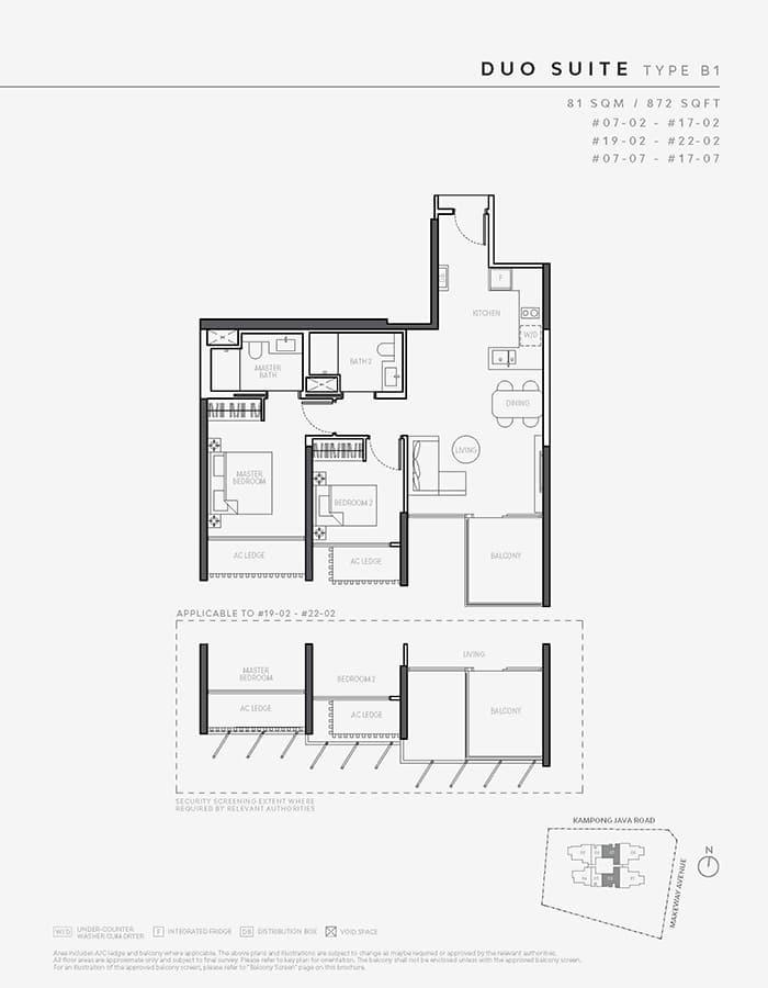 The Atelier Condo Floor Plan - 2 Bedroom B1 (Duo Suite)