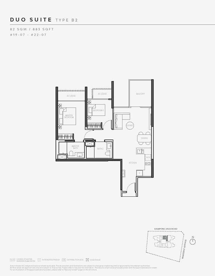The Atelier Condo Floor Plan - 2 Bedroom B2 (Duo Suite)