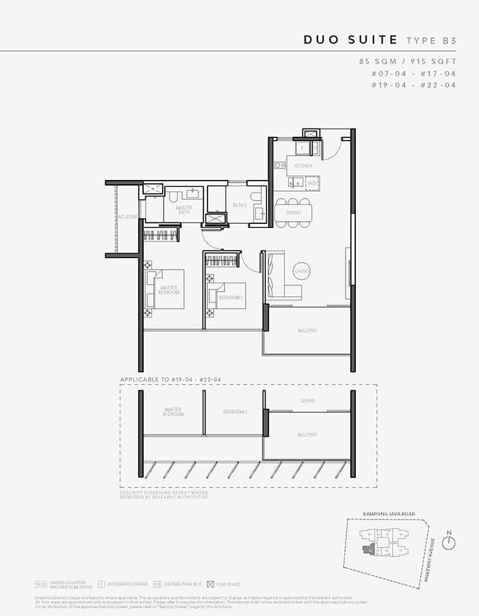 The Atelier Condo Floor Plan - 2 Bedroom B3 (Duo Suite)