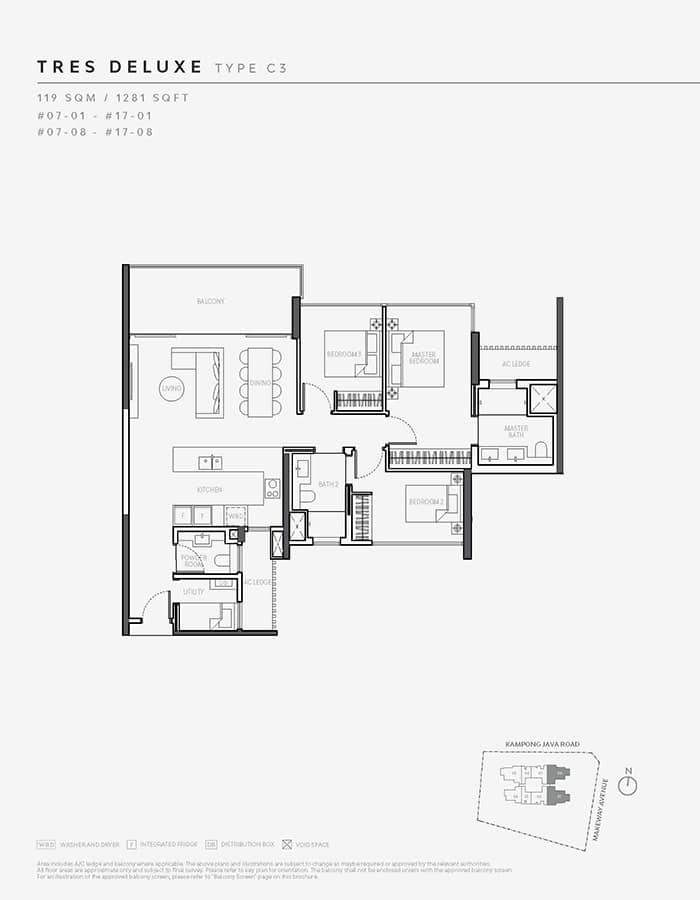 The Atelier Condo Floor Plan - 3 Bedroom C3 (Tres Deluxe)