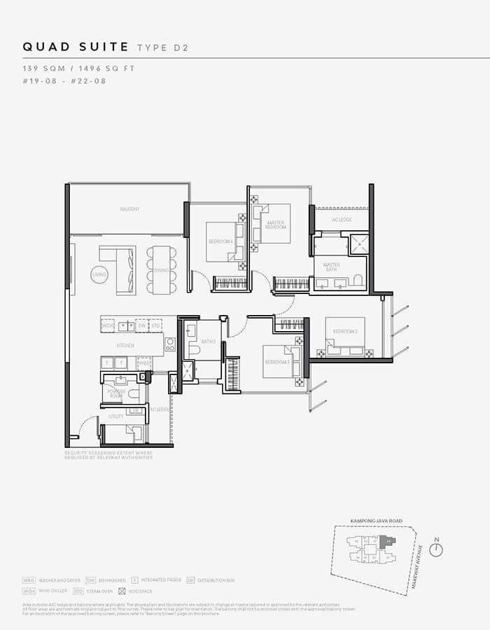 The Atelier Condo Floor Plan - 4 Bedroom D2 (Quad Suite)
