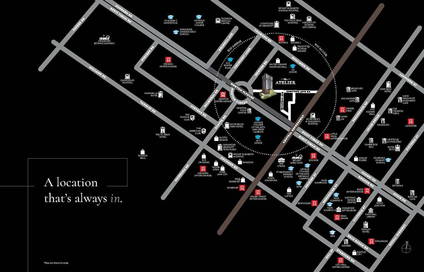 The Atelier Condo Location - Location Map