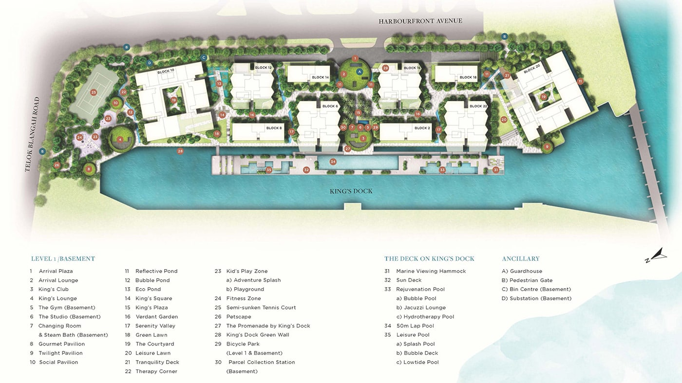The Reef at King's Dock Condo Facilities - Site Plan