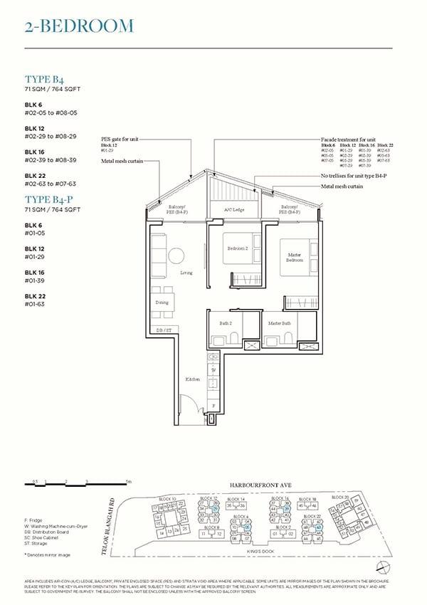 The Reef at King's Dock Condo Floor Plan - 2 Bedroom B4