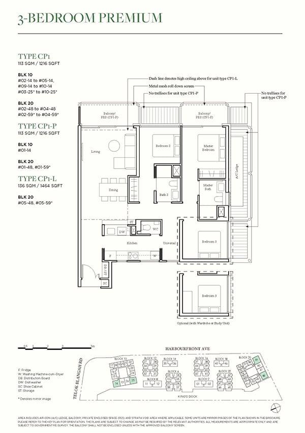 The Reef at King's Dock Condo Floor Plan - 3 Bedroom Premium CP1