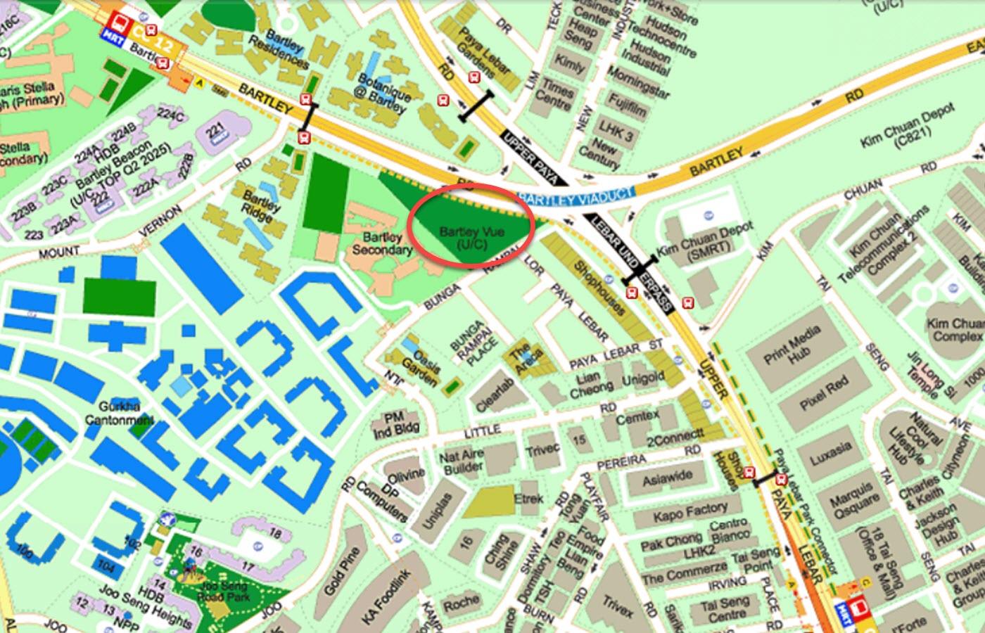 Bartley Vue Condo Location - Street Directory Map