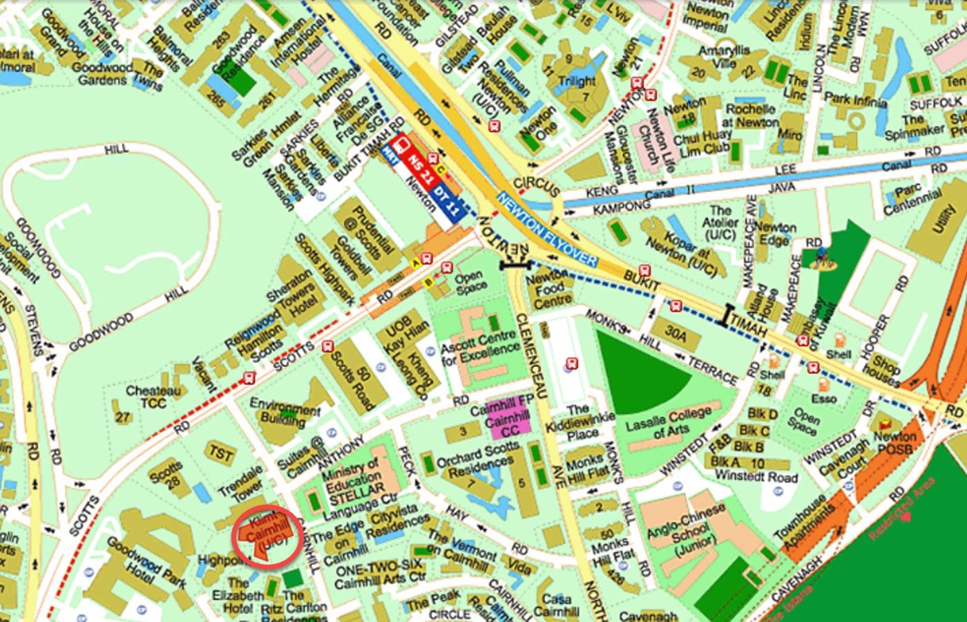 Klimt Cairnhill Condo Location - Street Directory Map