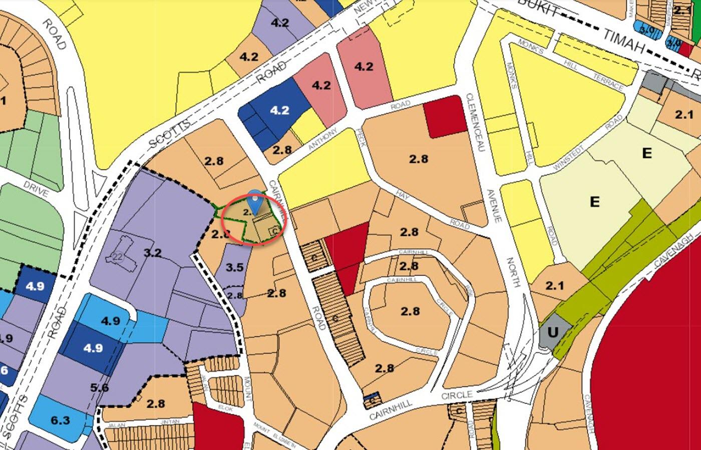 Klimt Cairnhill Condo Location - URA Master Plan Map