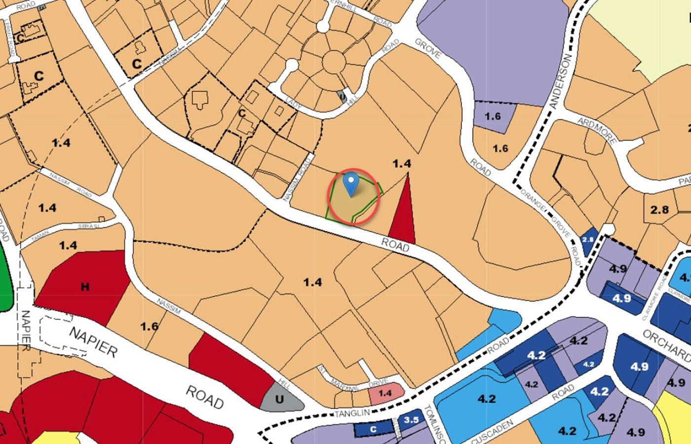 LES Maisons Nassim Condo Location - URA Master Plan Map