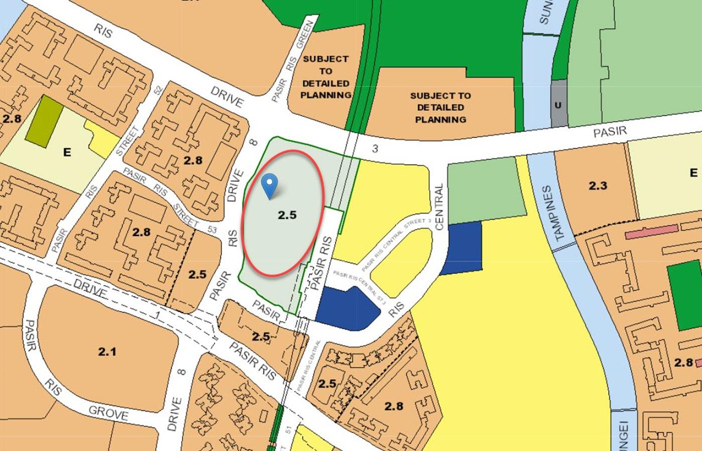 Pasir Ris 8 Condo Location - URA Master Plan Map