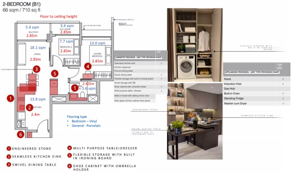 Pasir Ris 8 Condo Showflat - 2 Bedroom B1 (with size)