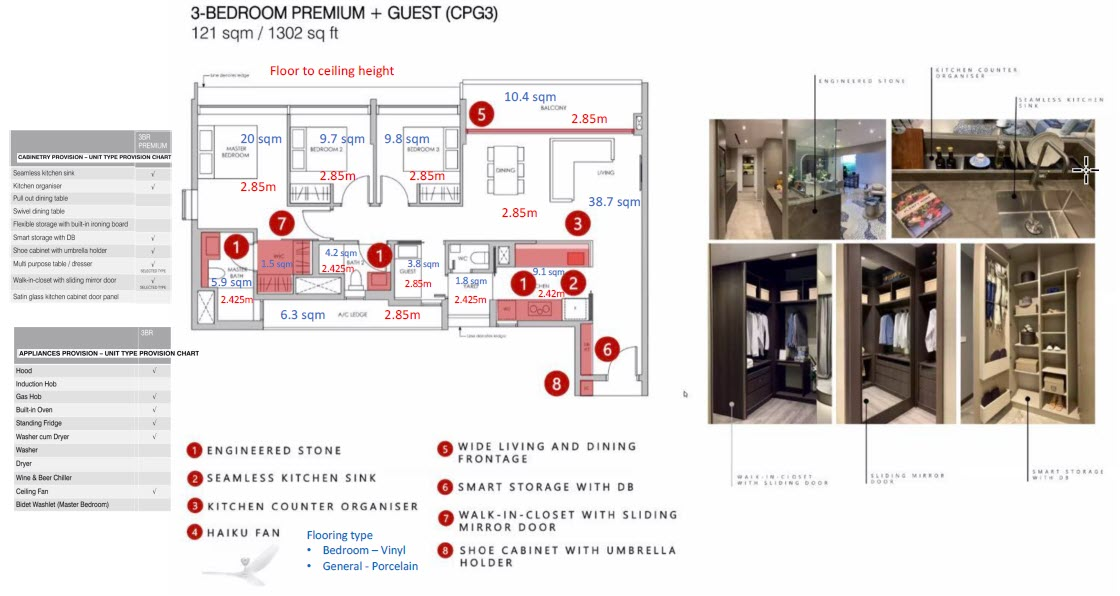 Pasir Ris 8 Condo Showflat - 3 Bedroom Premium + Guest CPG3 (with size)
