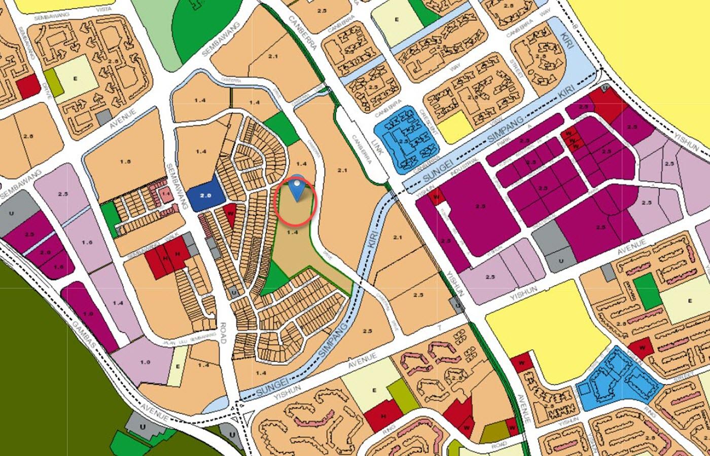 The Commodore Condo Location - URA Master Plan Map