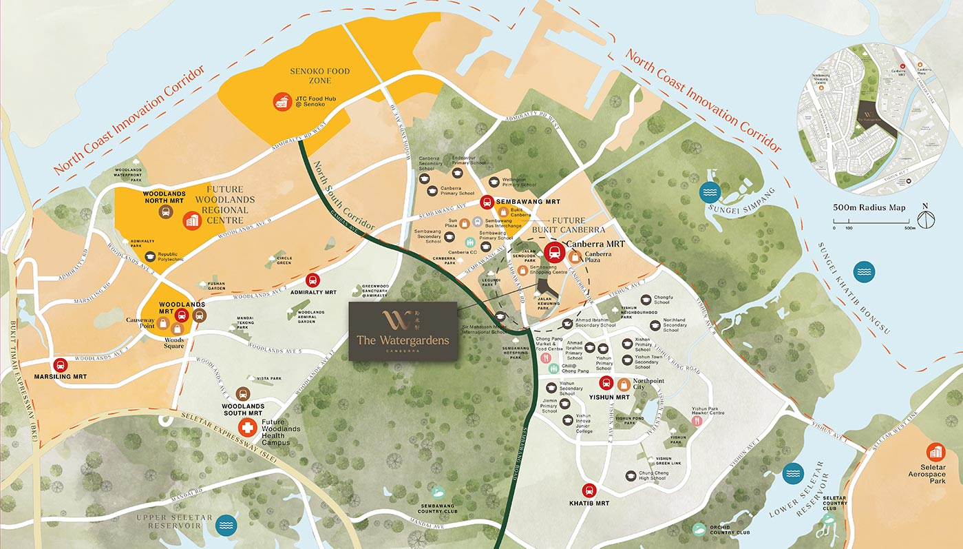 The Watergardens At Canberra Condo Location - Location Map