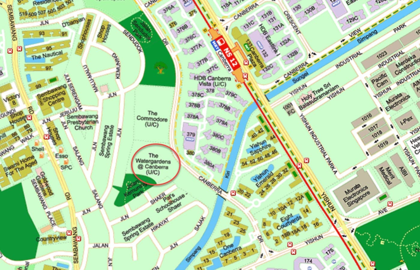 The Watergardens At Canberra Condo Location - Street Directory Map