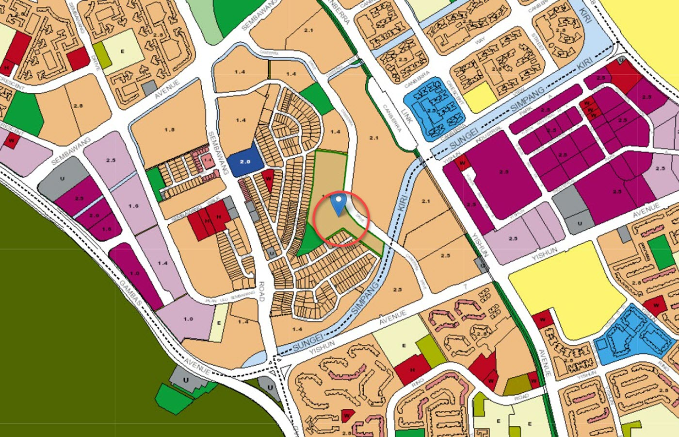 The Watergardens At Canberra Condo Location - URA Master Plan Map